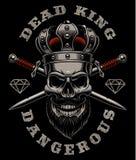 Rey del cráneo en fondo oscuro Imagen de archivo libre de regalías
