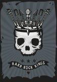 Rey del heavy Cartel de la música del Grunge Cráneo con una corona ilustración del vector