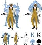 Rey del padrino afroamericano del mafioso de las espadas con Fotos de archivo