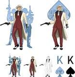 Rey del padrino asiático del mafioso de las espadas con el equipo Fotografía de archivo