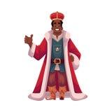 Rey en corona y capas felices Foto de archivo libre de regalías