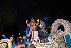 Rey Melchor Throwing Candy in Malaga Stock Image