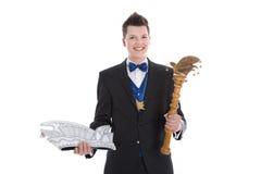 Rey o príncipe en un traje del carnaval aislado en blanco Foto de archivo libre de regalías