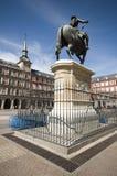 Rey Philips de alcalde Madrid España de la plaza de la estatua III fotografía de archivo libre de regalías