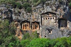 Rey Tombs en Caunos Antic Imagen de archivo libre de regalías