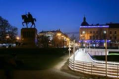 Rey Tomislav Park en Zagreb en el advenimiento Foto de archivo