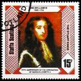 Rey William III, los reyes de Estuardo, 25to aniversario de la coronación de la reina Elizabeth II, serie de Staffa Escocia, circ foto de archivo libre de regalías