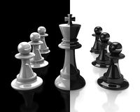 Rey y empeño. Blanco y negro. fotografía de archivo libre de regalías
