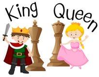 Rey y reina con el juego de ajedrez ilustración del vector