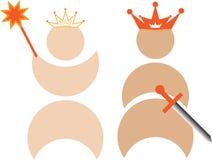 Rey y reina con las coronas ilustración del vector