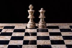 Rey y reina del juego de ajedrez Foto de archivo libre de regalías
