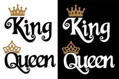 Rey y reina - diseño de los pares Corona negra del texto y del oro aislada en el fondo blanco stock de ilustración