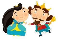 Rey y reina felices - carácter de la historieta Fotografía de archivo