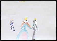 Rey y reina y princesa Child& x27; dibujo de s Imagenes de archivo