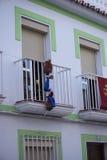3 reyes pagan a visita en Frigiliana un pueblo moro viejo sobre Nerja en Costa del Sol en España meridional Fotos de archivo libres de regalías
