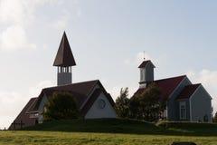 Reykholtskirkja två av de många isländskakyrkorna Royaltyfria Bilder