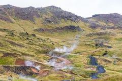 Reykjadalur Gorącej wiosny teren na Iceland Obrazy Stock