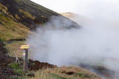 Reykjadalur Gorącej wiosny teren na Iceland Obrazy Royalty Free