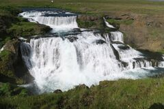 This is Reykjafoss waterfall in Skagafjordur, North Iceland.