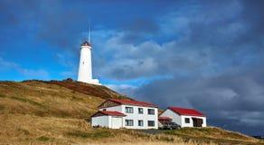 Reykjanesviti, el faro más viejo del ` s de Islandia en la península de Reykjanes Fotografía de archivo