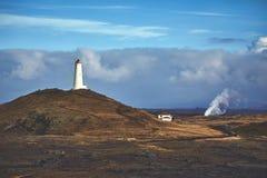 Reykjanesviti, le phare le plus ancien du ` s de l'Islande sur la péninsule de Reykjanes image libre de droits