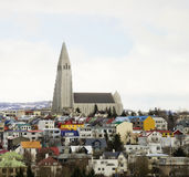 Reykjavic Church Tower. Hallgrimskirkja Church Tower and Skyline View of Reykjavic Stock Photo