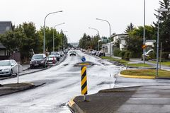 Street in residential neighborhood of Reykjavik. REYKJAVIC, ICELAND - SEPTEMBER 4, 2017: Laugarasvegur street in residential neighborhood of Reykjavik city in Stock Photo
