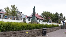Sculpture of Hannes Hafstein in Reykjavik city. REYKJAVIC, ICELAND - SEPTEMBER 5, 2017: people near statue of Hannes Hafstein, he became the first minister of Stock Photo