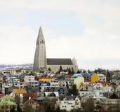 Reykjavic kyrkligt torn Arkivfoto