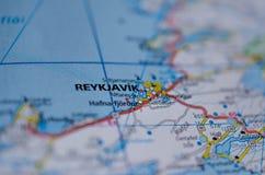 Reykjavik на карте Стоковое Изображение