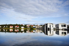 Reykjavik. City hall and beautiful nordic colorful houses over the lake. Iceland Royalty Free Stock Images