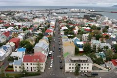 Reykjavik from the air 01. View of Old Town from top of church tower in central Reykjavik, Iceland royalty free stock photo
