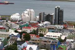 Reykjavik from the air 02. View of Old Town from top of church tower in central Reykjavik, Iceland Royalty Free Stock Image