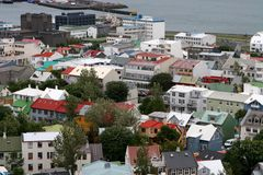 Reykjavik from the air 03. View of Old Town from top of church tower in central Reykjavik, Iceland Royalty Free Stock Photography