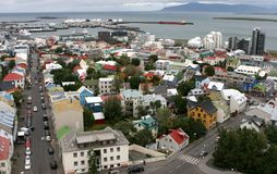 Reykjavik from the air 04. View of Old Town from top of church tower in central Reykjavik, Iceland Royalty Free Stock Photos