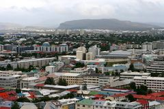 Reykjavik from the air 05. View of Old Town from top of church tower in central Reykjavik, Iceland Royalty Free Stock Photos