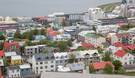 Reykjavik alloggia la vista aerea, Islanda Immagini Stock Libere da Diritti