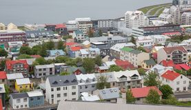 Reykjavik alloggia la vista aerea, Islanda Fotografia Stock