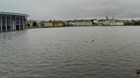 Reykjavik bewolking stock footage
