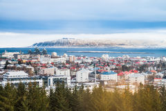 Reykjavik the capital city of Iceland. Beautiful view of  Rekjavik winter in Iceland winter season with snow-capped mountain in the background, Reykjavík is the Royalty Free Stock Photo