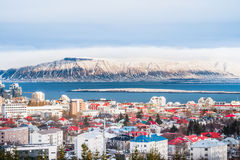 Reykjavik the capital city of Iceland. Beautiful view of  Reykjavik winter in Iceland winter season with snow-capped mountain in the background, Reykjavík is Stock Image