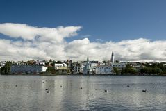 Reykjavik, capitol of Iceland. On clear summer day, viewed from Tjornin lake Stock Images