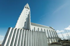 Reykjavik church of Hallgrimur in blue sky. REYKJAVIK, ICELAND - APRIL 9 - 2016: Reykjavik church of Hallgrimur in blue sky stock photo