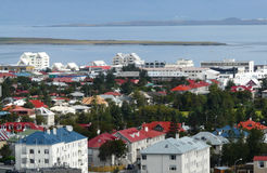 Reykjavik city. Aerial view of Reykjavik city looking towards, ocean, Iceland Stock Image