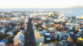 Reykjavik City. Aerial tilt-shift view of Reykjavik city, Iceland royalty free stock photography