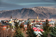 Reykjavik City. Elevated view of Reykjavik city with mountain range in background, Iceland