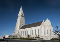 Reykjavik city central modern architecture cathedral church in i Royalty Free Stock Image