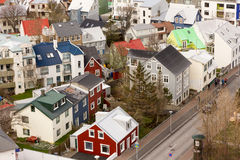 Reykjavik city houses near catedral Royalty Free Stock Photography