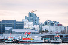 Reykjavik city with ships at the harbor Royalty Free Stock Photography