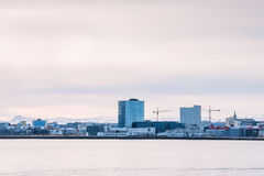 Reykjavik city view from the ocean Royalty Free Stock Images